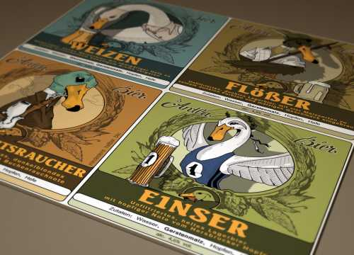 Bierflaschenetikettenentwürfe für die (link:http://www.antla.de/Joomla/ text: Brauerei Antla), Kronach