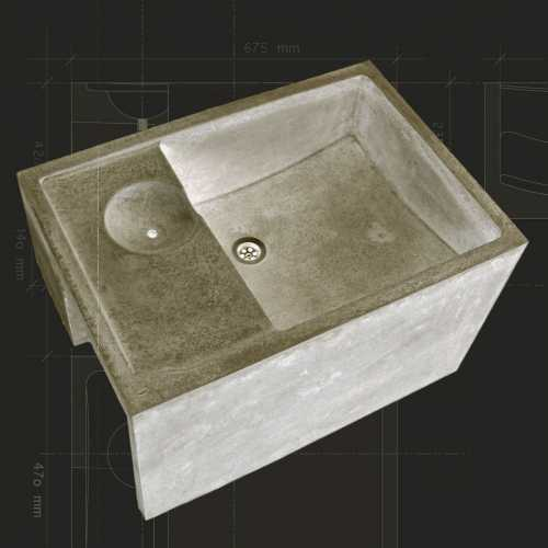 Betonspüle, mit alkaliresistenten Glasfasern armiert; Hauptbecken und Überlaufbecken bestehen aus Kugelsegmentformen, was den Wasserablauf optimiert.